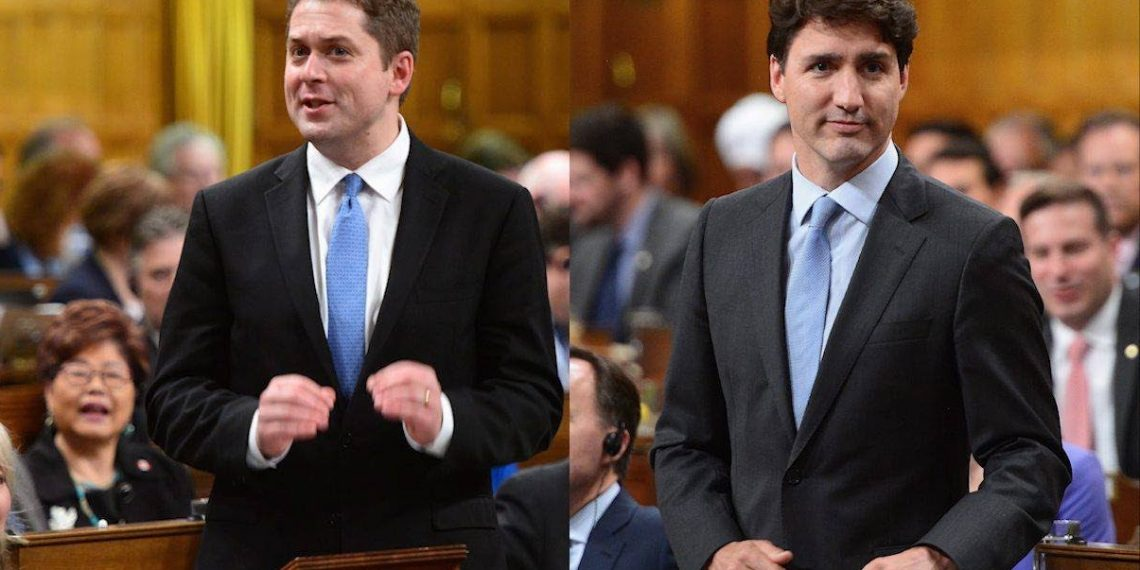 """Times of fear bring times of division, and Canadians are afraid for their country,"" Scheer said, accusing Trudeau of ""four years of unserious, entitled government."""