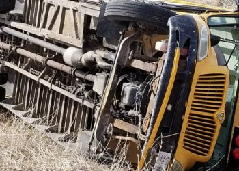Two students injured after school bus rolls into ditch east of Toronto