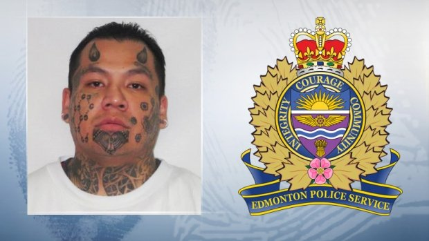 Edmonton police hunt a man with devil horn tattoos on his face