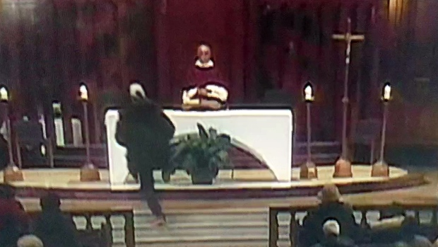 Priest stabbed on live television at St. Joseph's Oratory this morning during mass