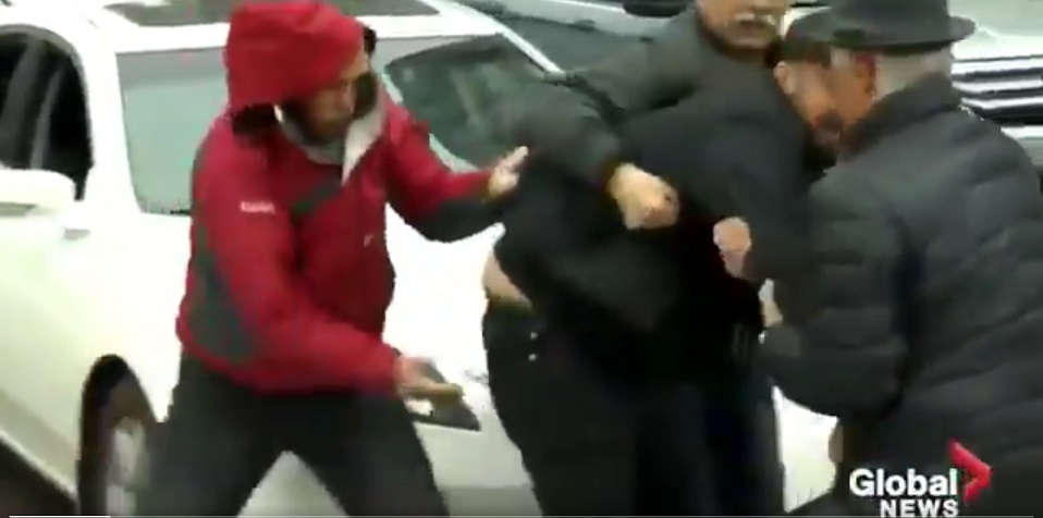 WATCH: Fight breaks out during Iranian-Canadian demonstration in Toronto