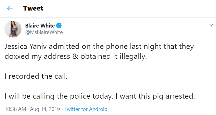 Blaire White claims that Jessica Yaniv doxxed her and she is calling the police