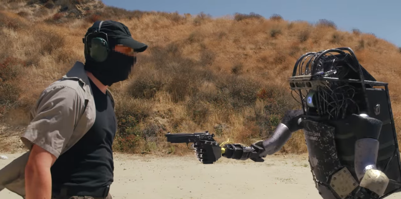 These Bosstown Dynamics robot gunslingers are going to overthrow humanity—except they're not real