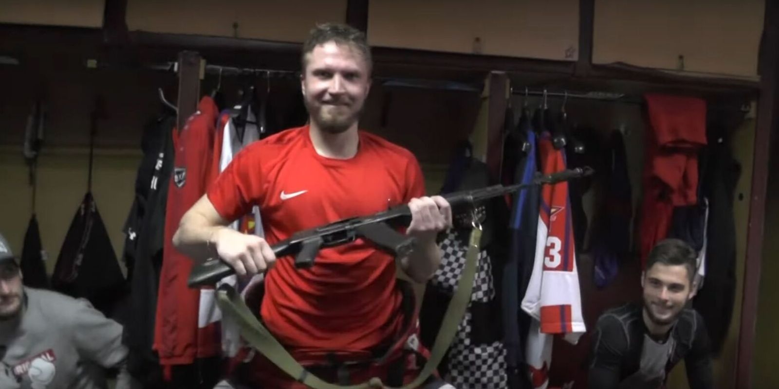 WATCH: In Russia, being good at hockey gets you an AK-47 instead of a trophy