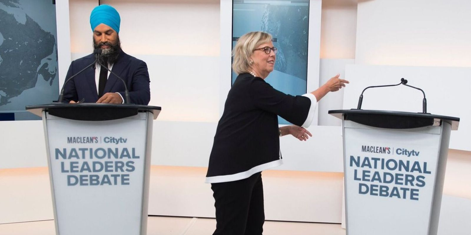 First election debate fires off with empty podium standing in for Trudeau