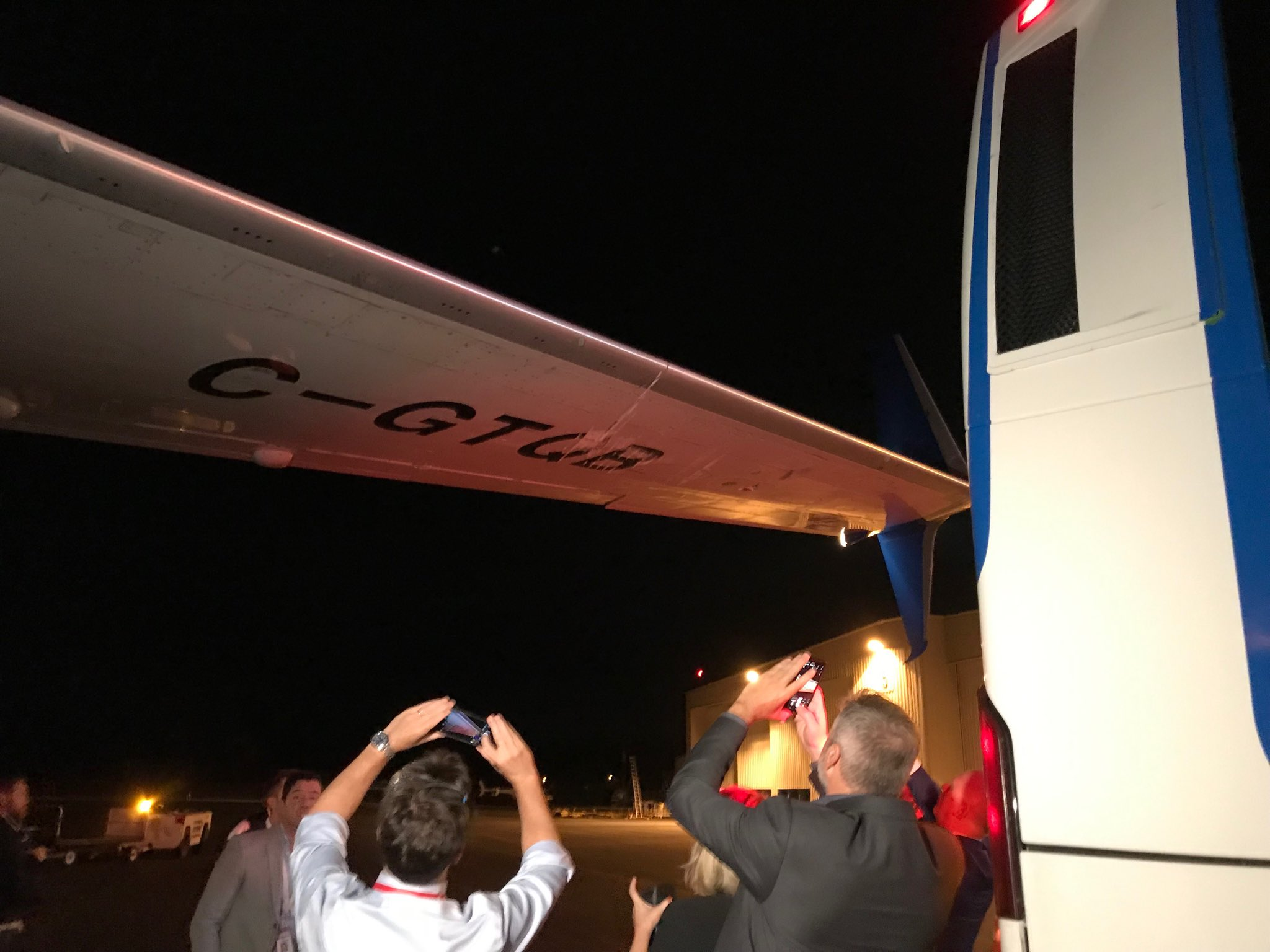 Media bus crashes into Liberal campaign plane wing on first night of election