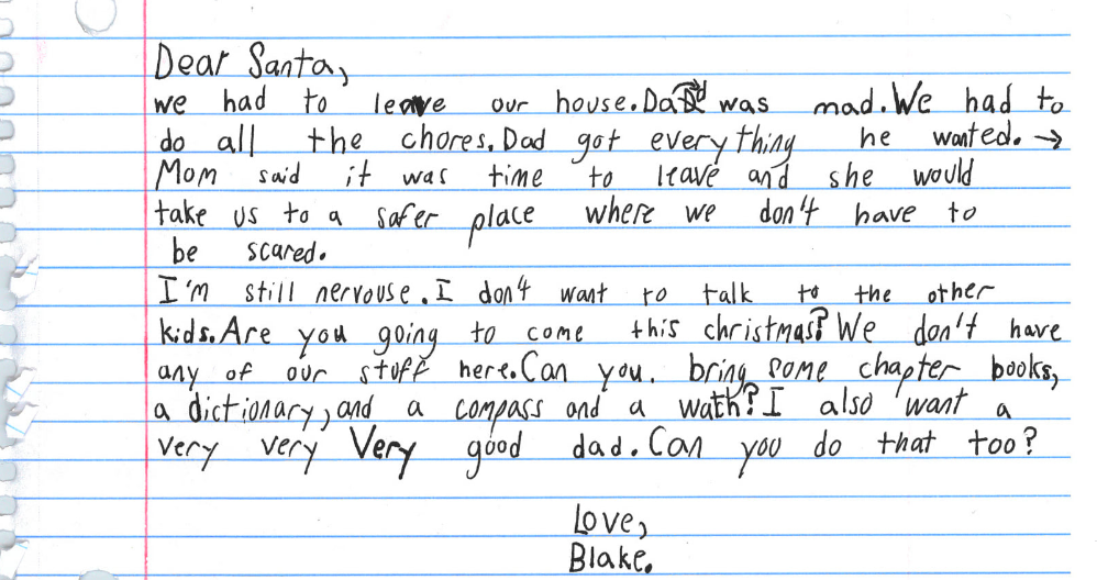 Little boy in shelter asks Santa for a good dad for Christmas