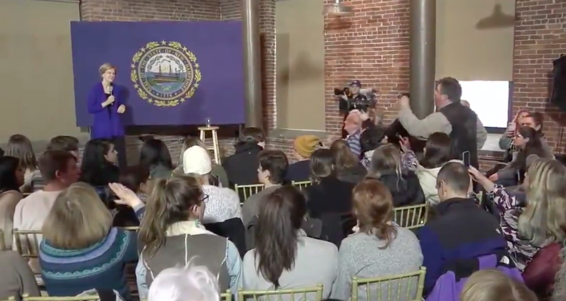 WATCH: Furious man confronts Elizabeth Warren over Iran at rally
