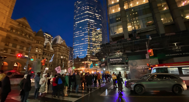 Extinction Rebellion took to the streets of downtown Toronto Friday evening to block rush-hour traffic and express their anger over pipelines.