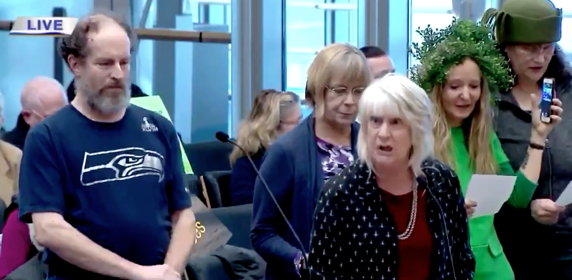 WATCH: Eco-radicals sing epic 'tree murder' song in front of Seattle City Council
