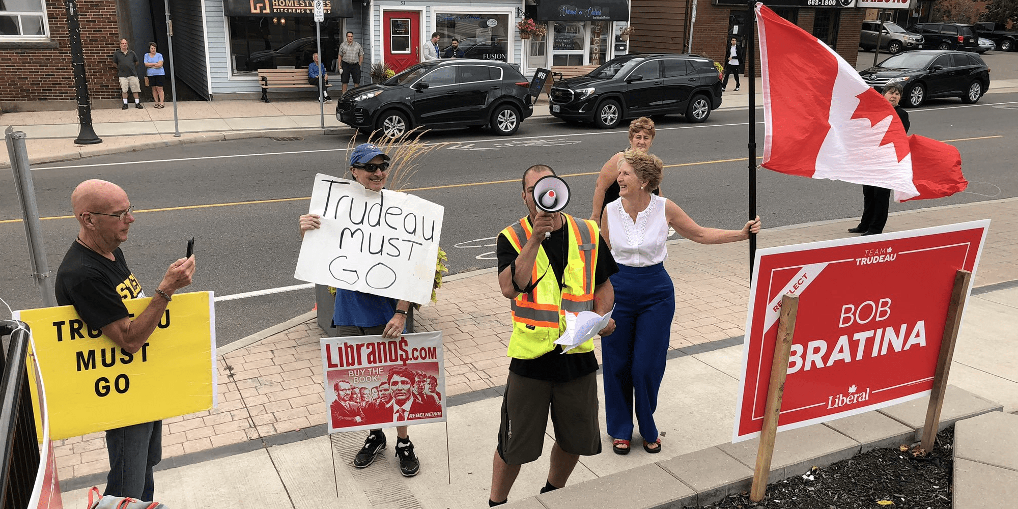 Protestors and supporters clash as Justin Trudeau visits deli