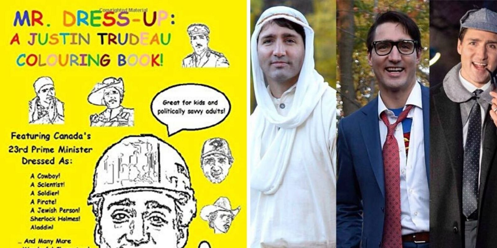 """Justin Trudeau """"Mr. Dress-up"""" colouring book for sale on Amazon"""