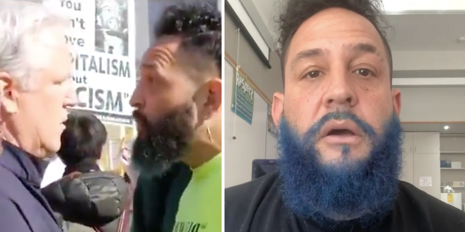 A protestor recorded threatening to harm the San Francisco GOP chairman in a viral video has been identified as a local hip-hop DJ and social worker.