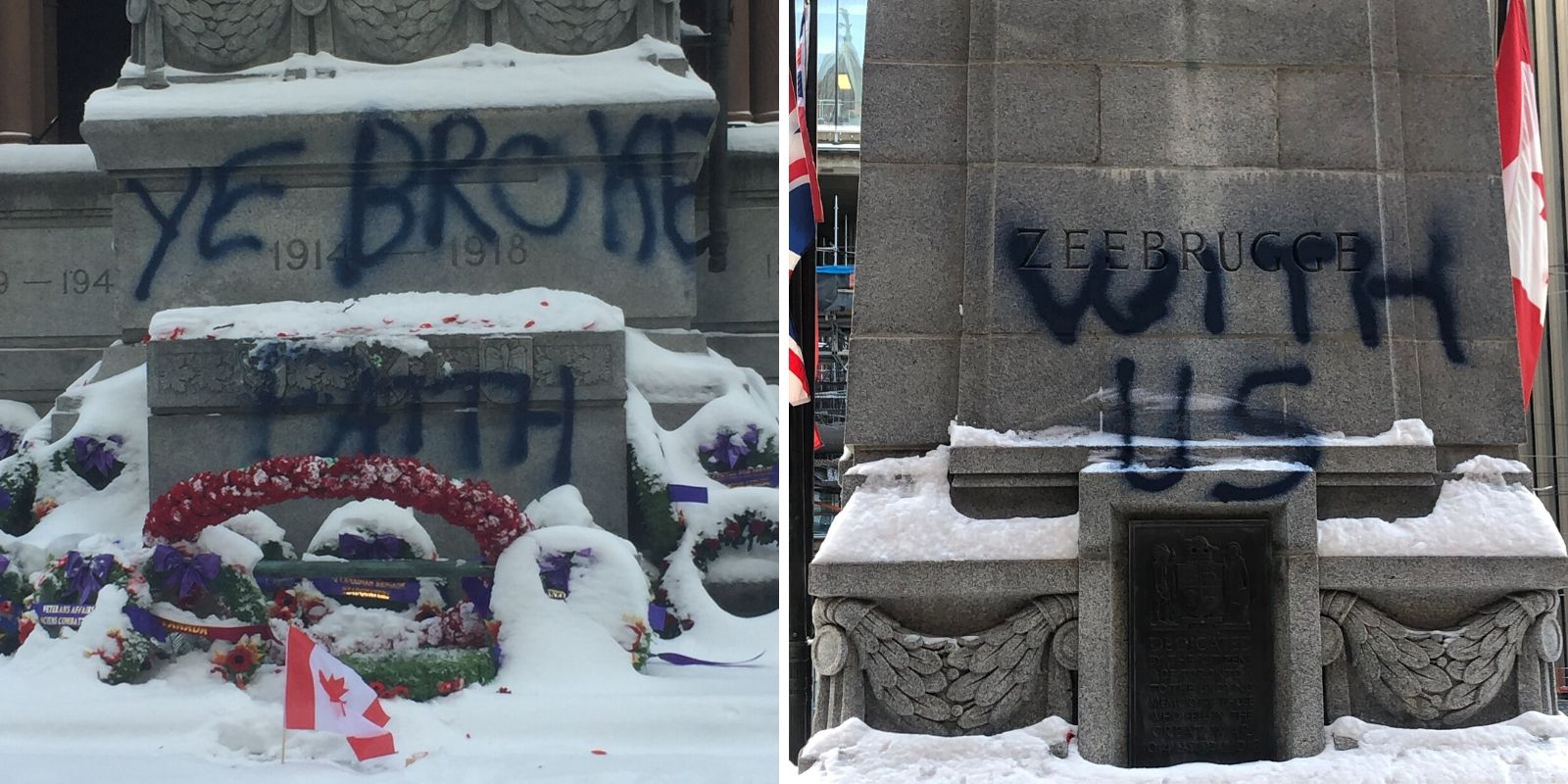 Veterans monument vandalized in Toronto following Remembrance Day