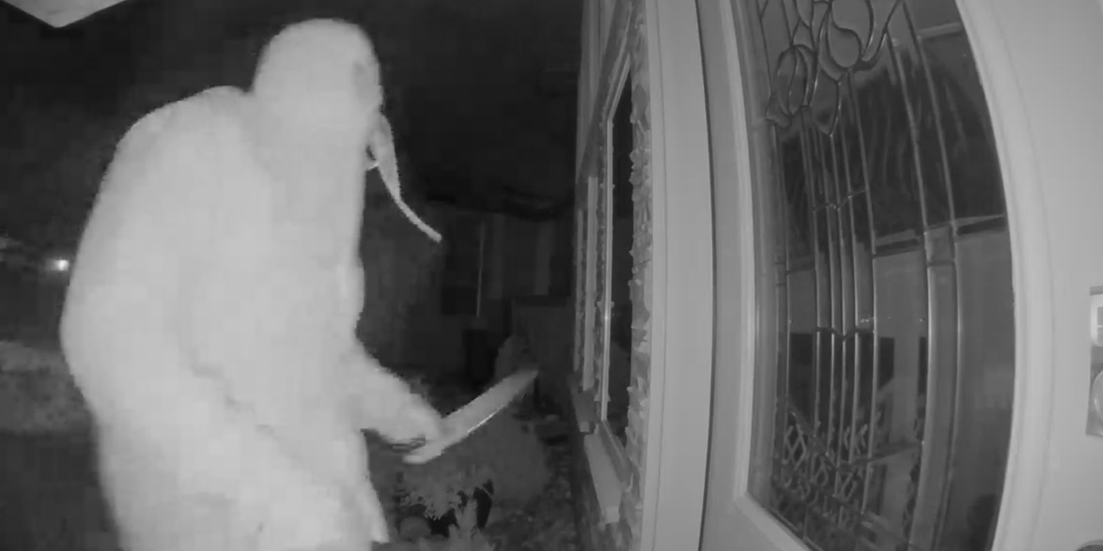 VIDEO: Man armed with butcher's knife stalks Alberta town at night and breaks into homes