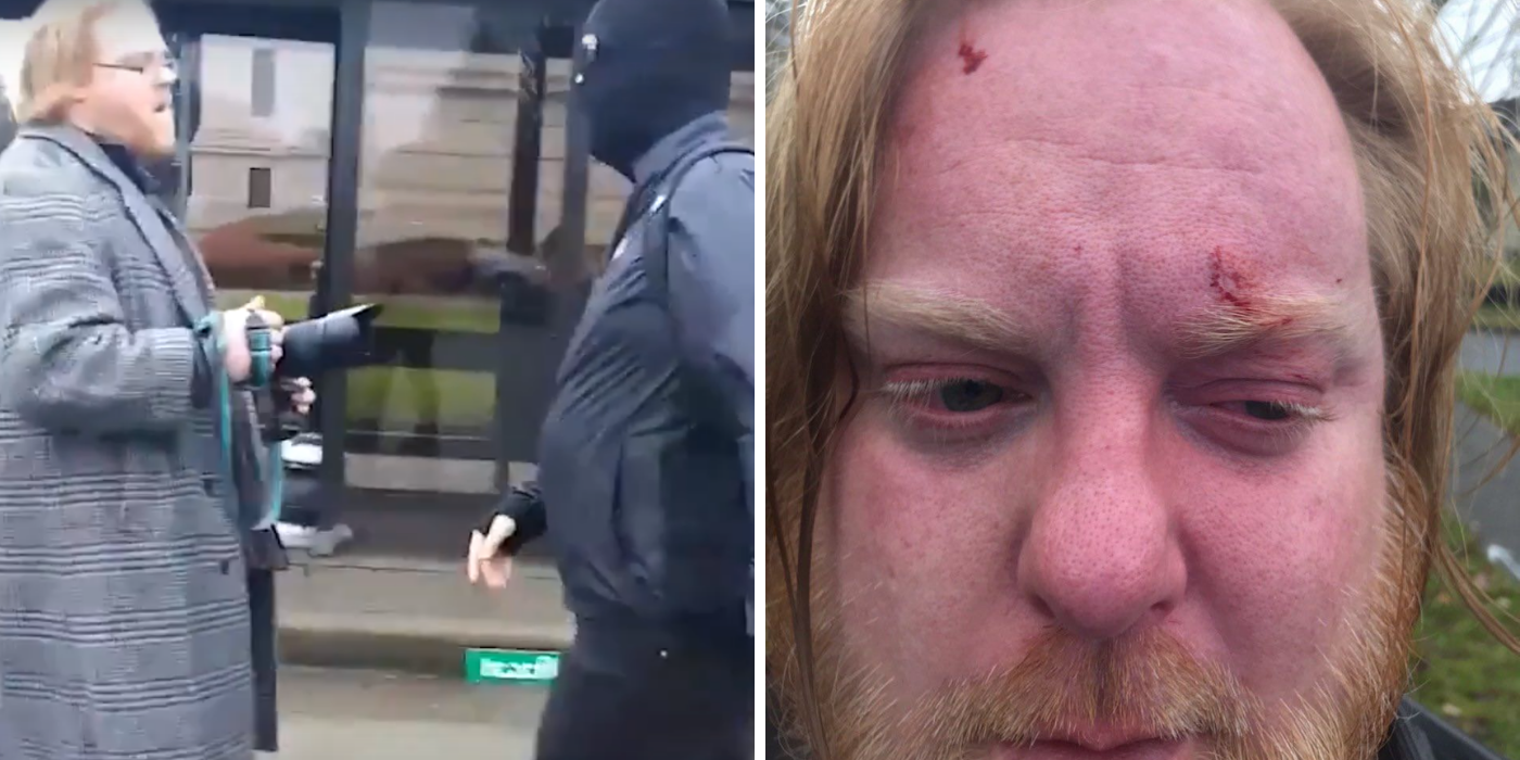WATCH: Antifa attacks journalist and right-wing group in Washington state