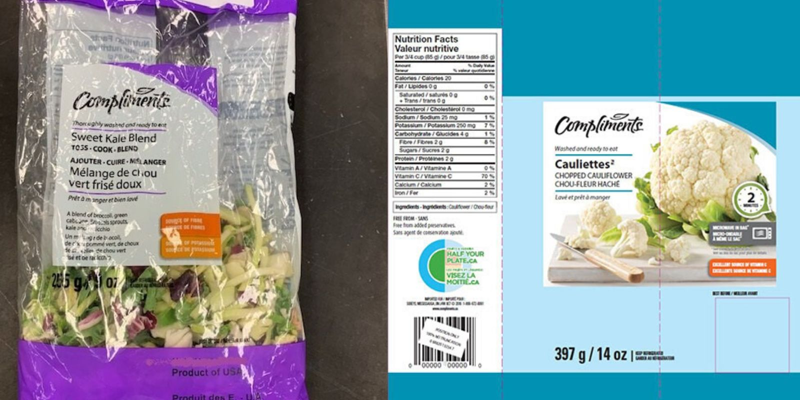 Compliments brand fresh-cut vegetables recalled Canada-wide due to Listeria contamination