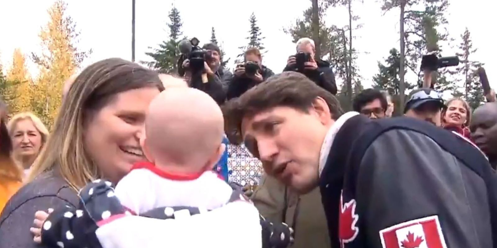 WATCH: Trudeau brags to crying baby about his eyebrows
