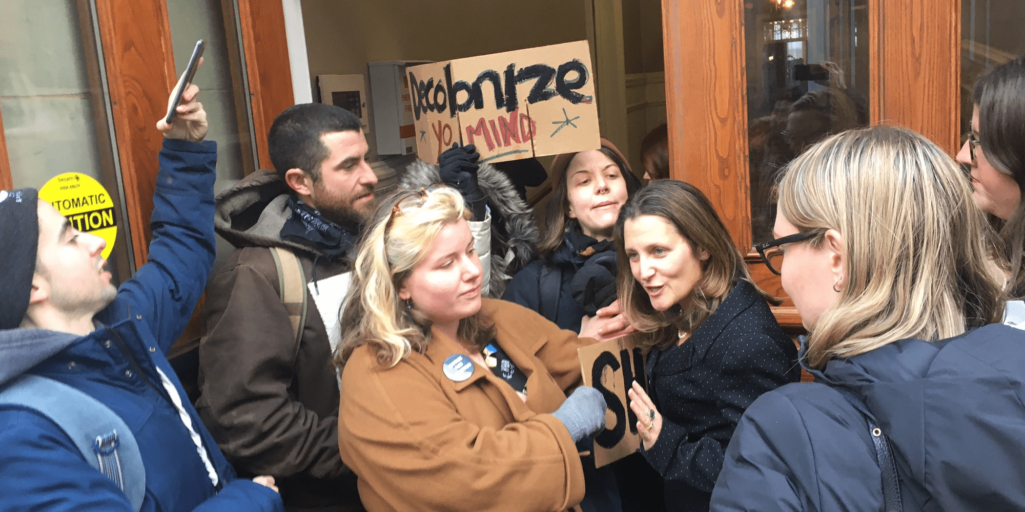 Deputy PM blocked from entering Halifax City Hall by anti-pipeline protestors