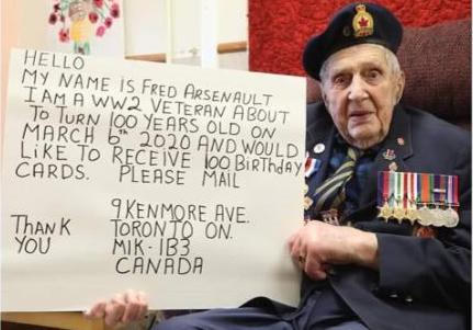 WWII veteran requests 100 birthday cards, Canadians do not disappoint