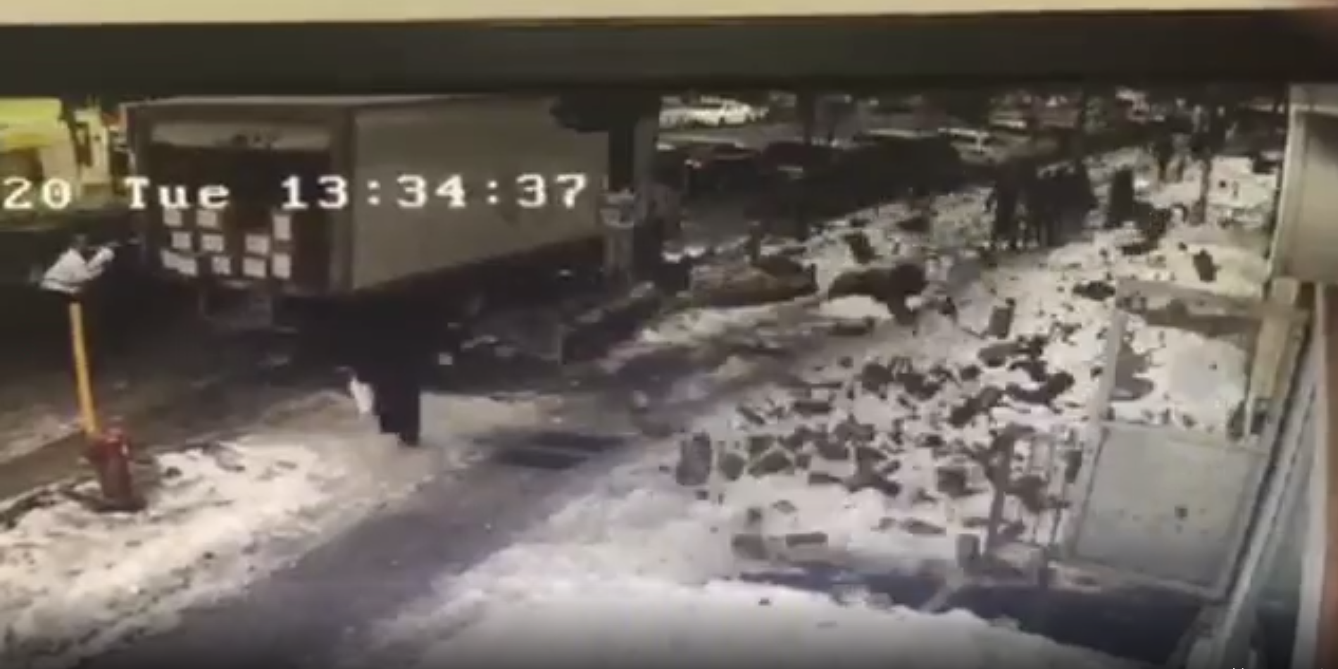 WATCH: Bricks fall from Montreal building, nearly CRUSH woman