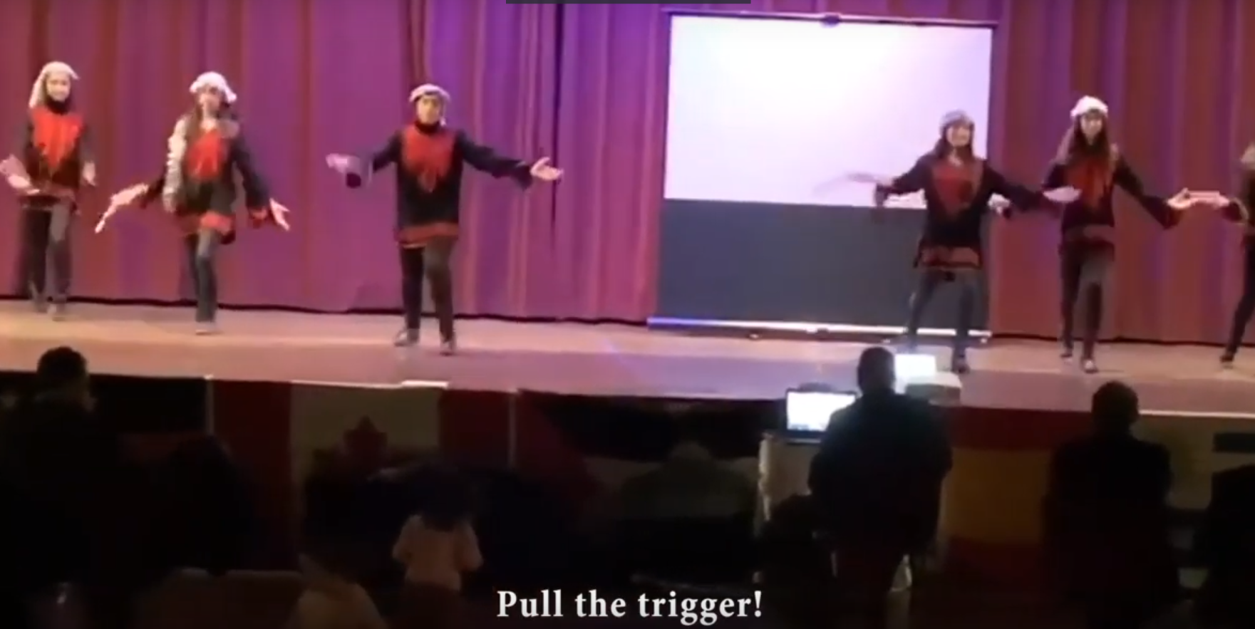 'PULL THE TRIGGER': Children dance to song promoting violence at Mississauga 'solidarity' event