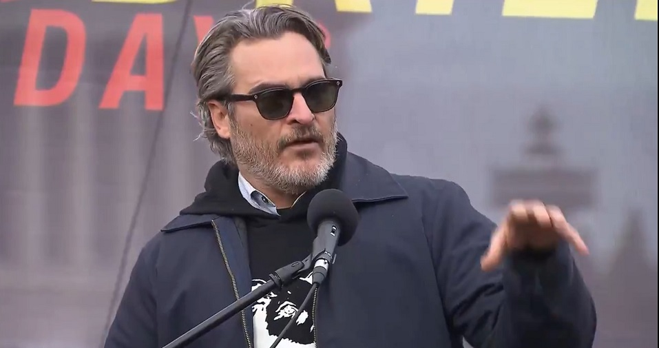 Joaquin Phoenix takes jet to climate protest to preach vegan diet