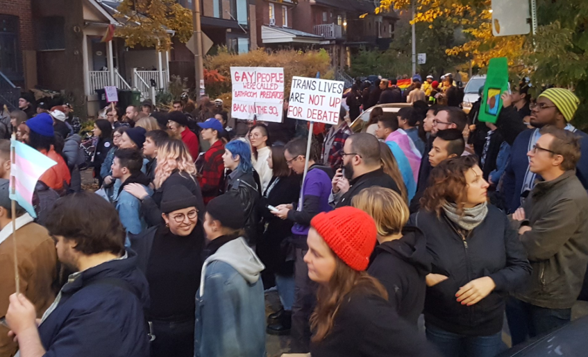 Meghan Murphy greeted by hundreds of protesters in Toronto