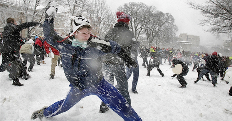 An annual snowball fight held at the University of British Columbia has been postponed due to a bombardment of snow.