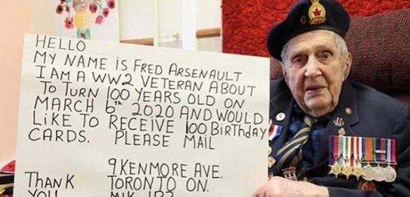Canadian war veteran wants 100 birthday cards for his 100th birthday