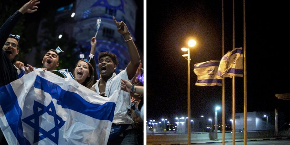 Israeli's mourning on memorial day turns to independence day celebrations at midnight