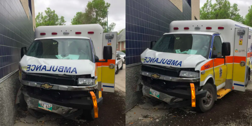 Naked Winnipeg man steals ambulance, crashes it into building