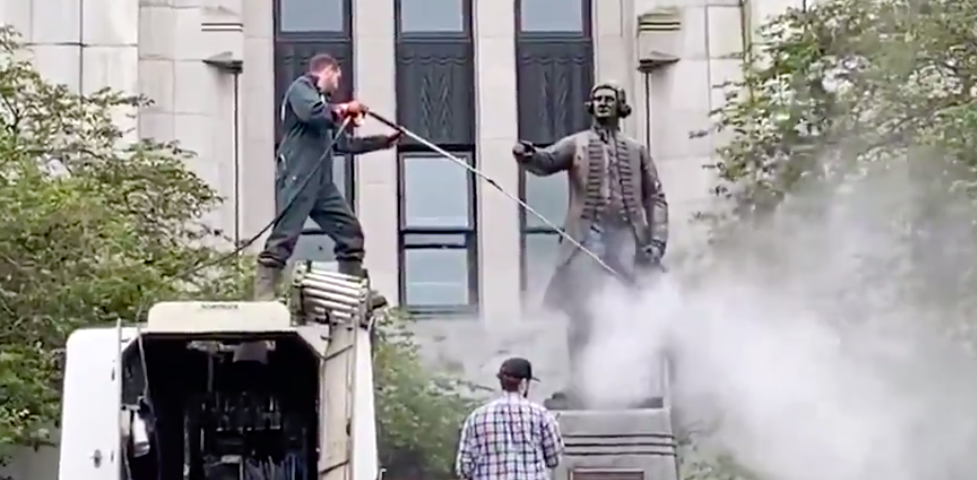 George Vancouver statue vandalized in city of Vancouver