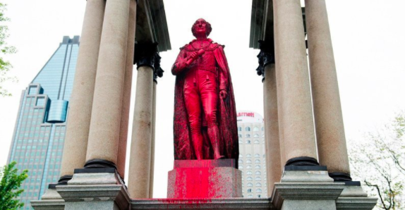 Vandals deface Montreal statue of Canada's first prime minister John A. MacDonald, petition for its removal