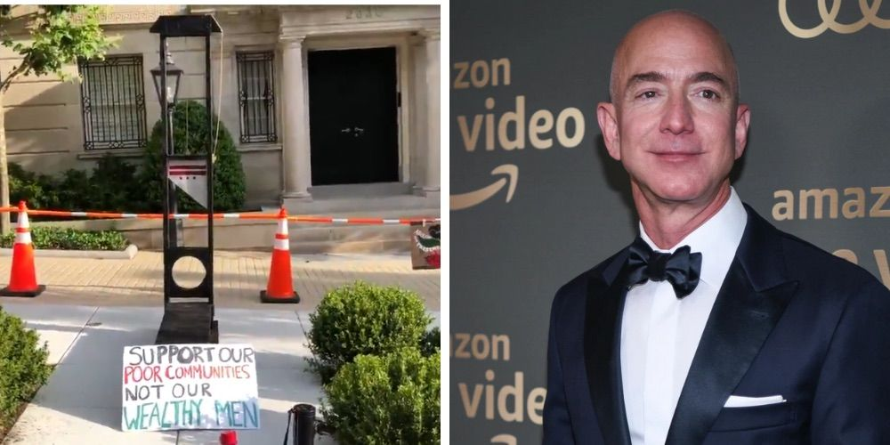 Activists leave guillotine outside Jeff Bezos' DC home