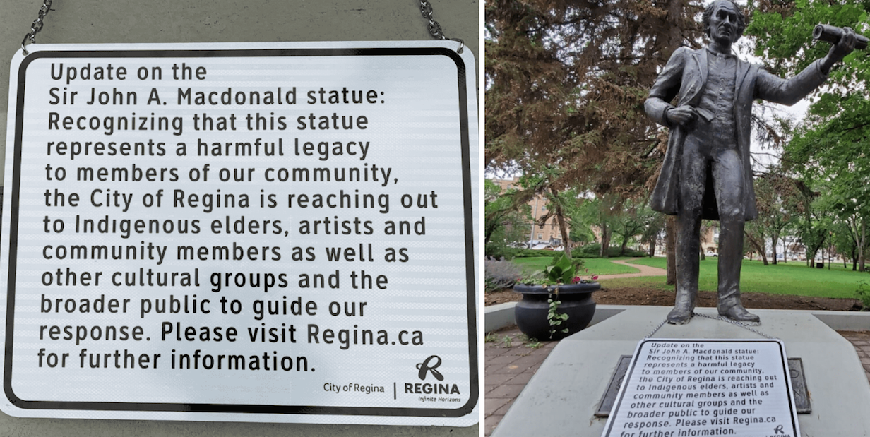 City of Regina puts TRIGGER WARNING on statue of Sir John A. Macdonald—just in time for Canada Day