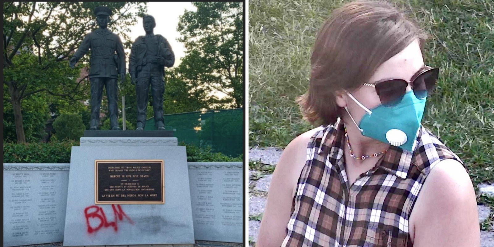 Ontario police call on public for information about suspect who vandalized police memorial