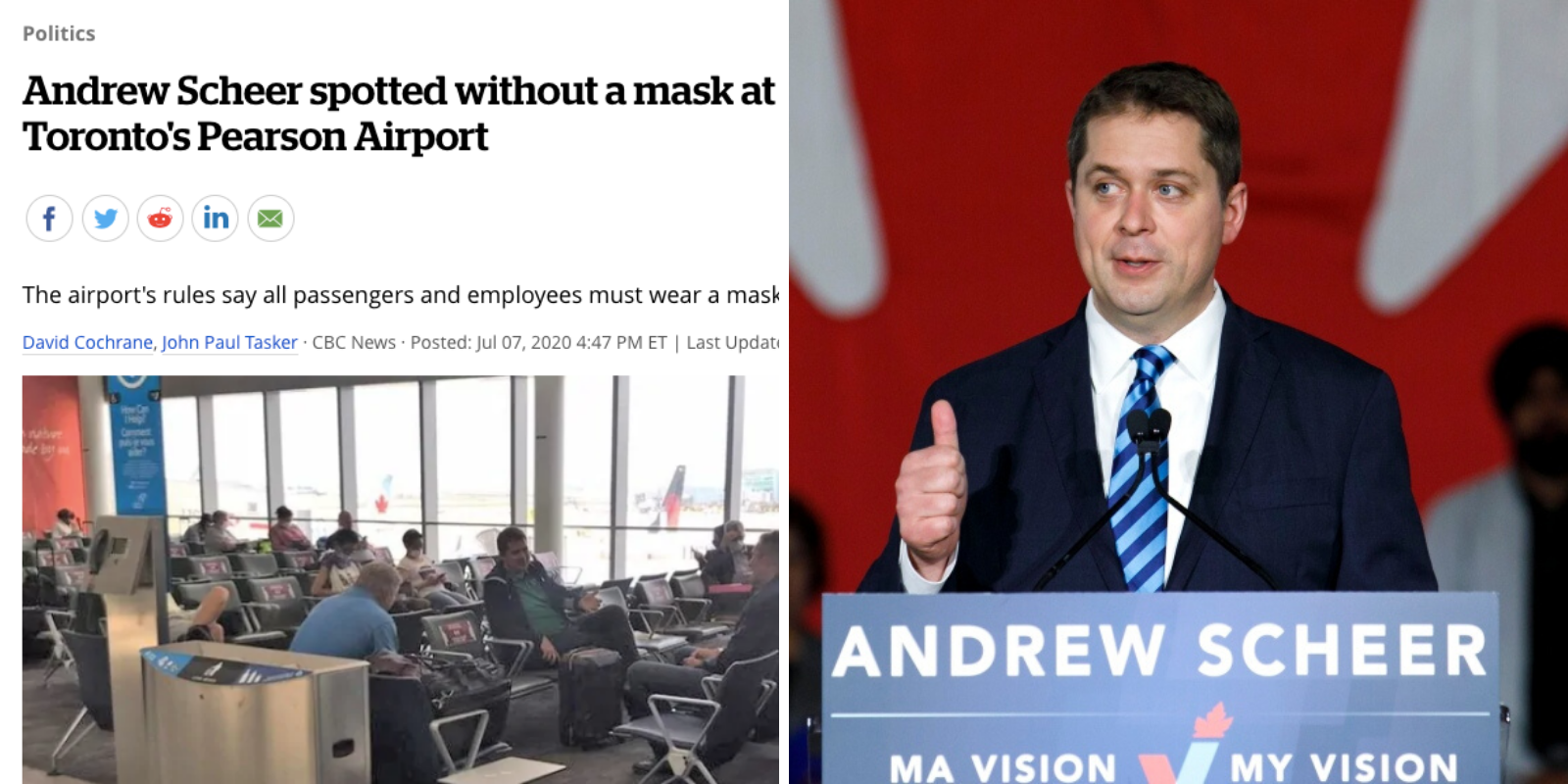 CBC attacks Scheer for breaking lockdown rules, gives Trudeau a free pass three times