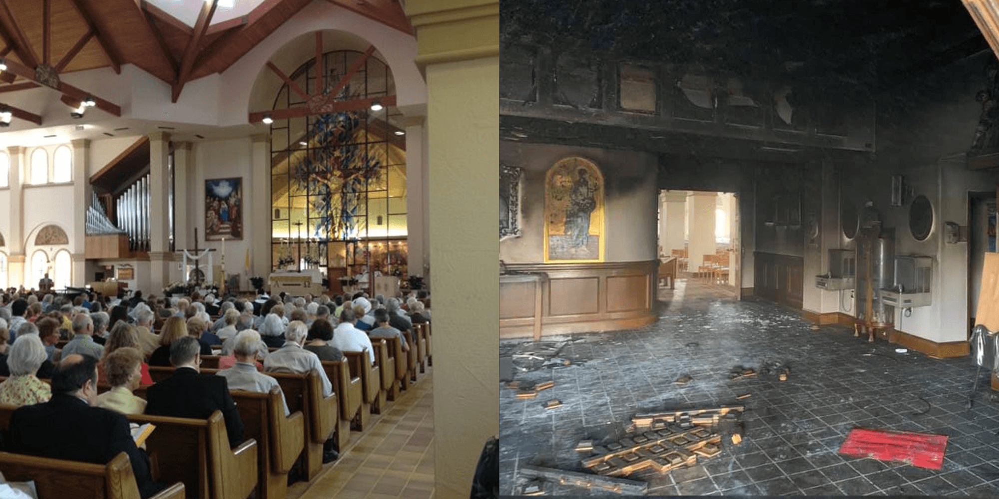 Florida man drives van into occupied Catholic church and sets it on fire
