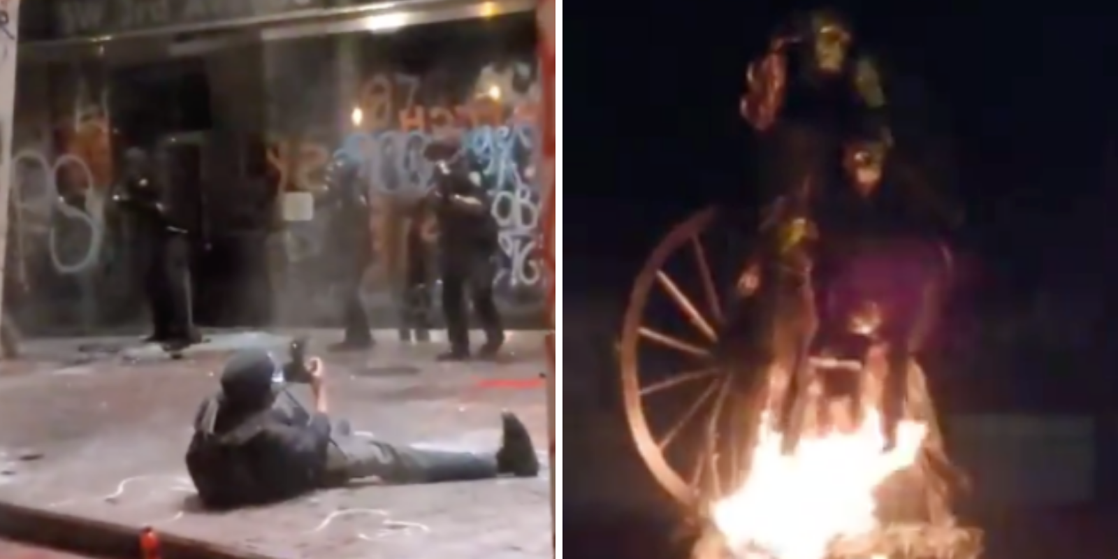 WATCH: Antifa miltants try to burn down Portland courthouse, torch pioneer statue