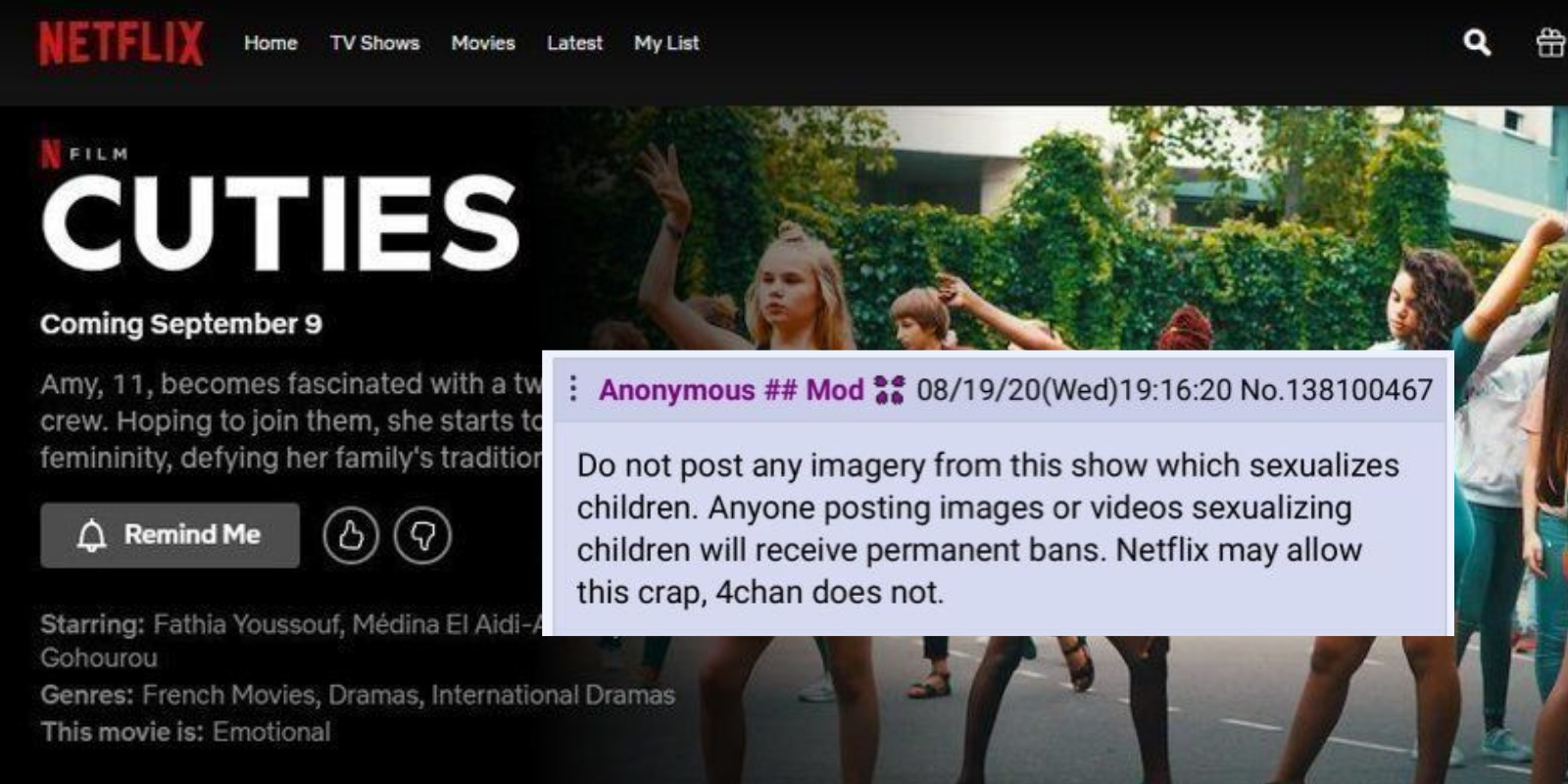4Chan bans materials from 'pro-pedophilia' movie but Netflix does not