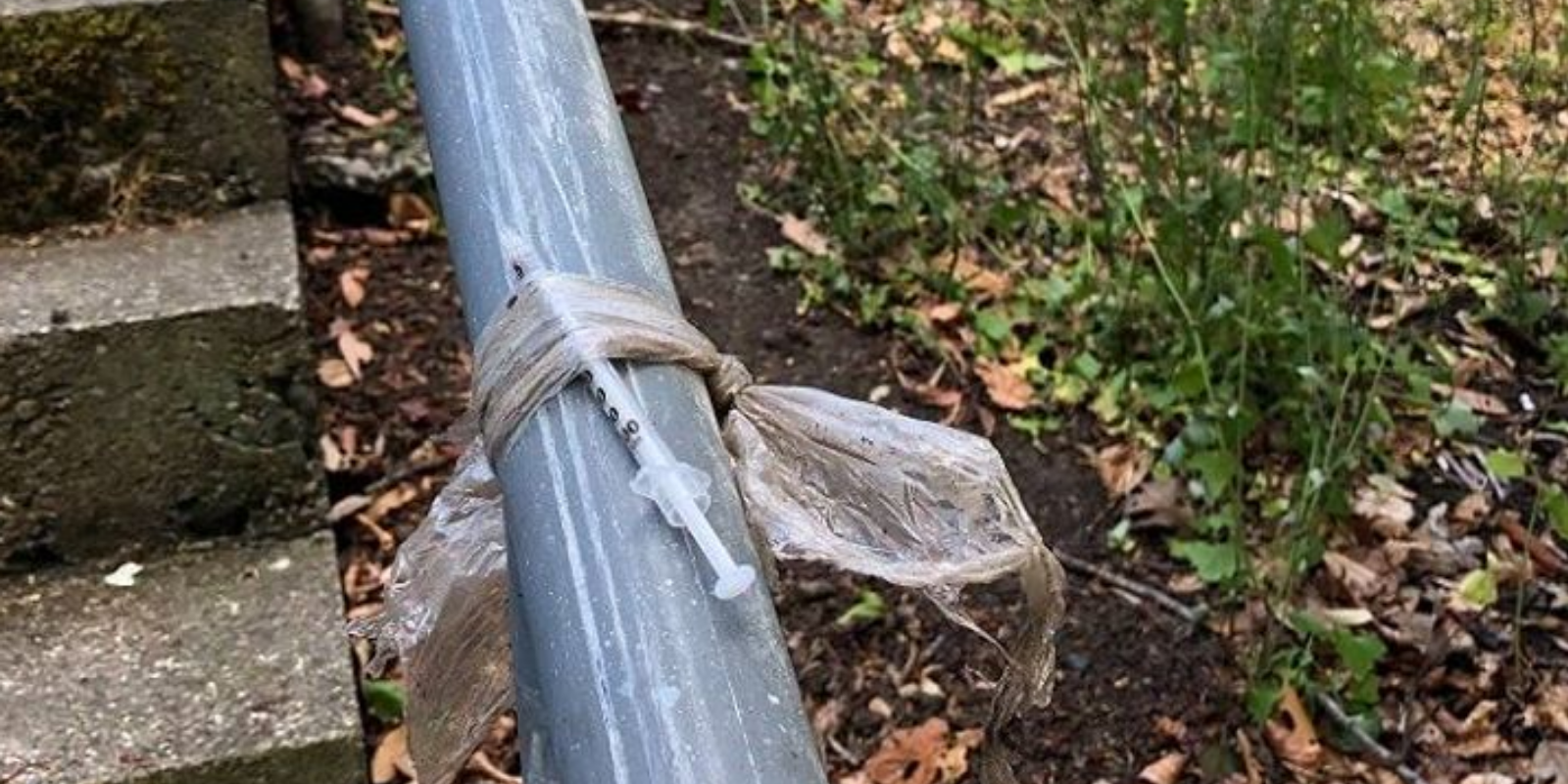 Victoria Police issue public warning after used needle found wrapped around a railing