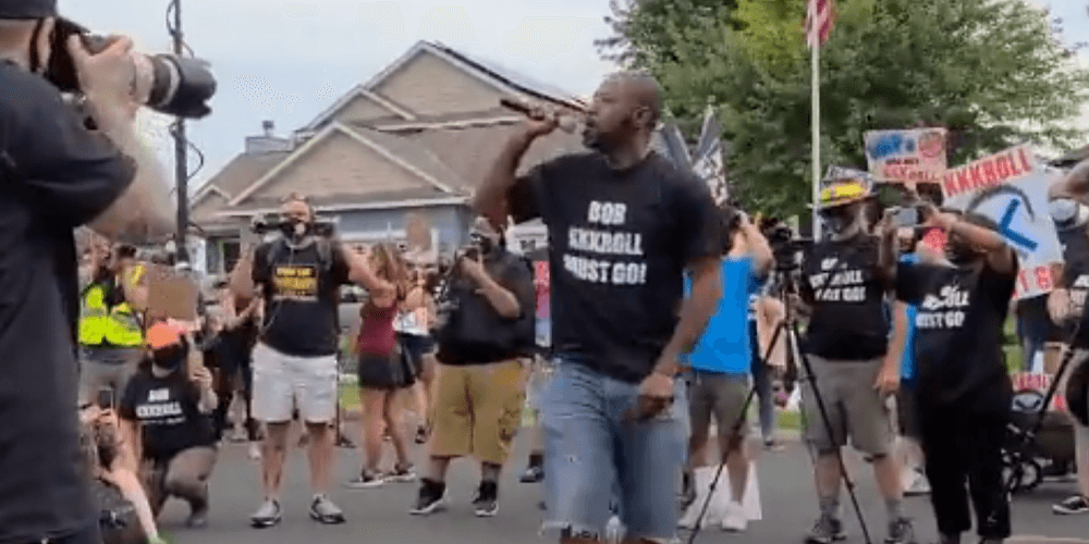 Black Lives Matter protesters scream at home of Minneapolis police union president
