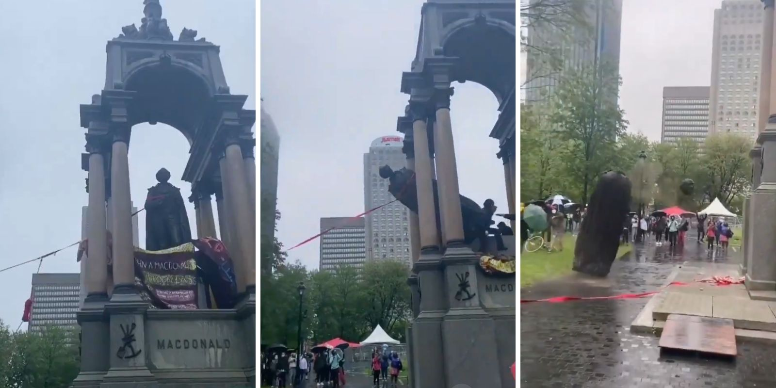 BREAKING: Mob tears down statue of Sir John A. Macdonald in downtown Montreal