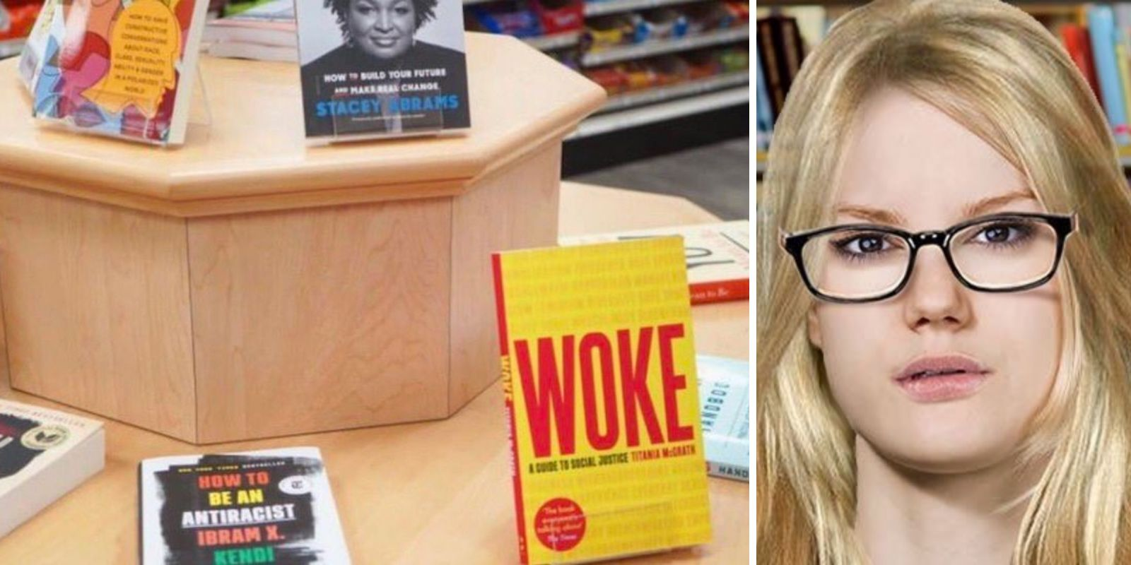 Bookstore accidentally includes Titania McGrath's book 'WOKE' in social justice display, then quickly removes book from store