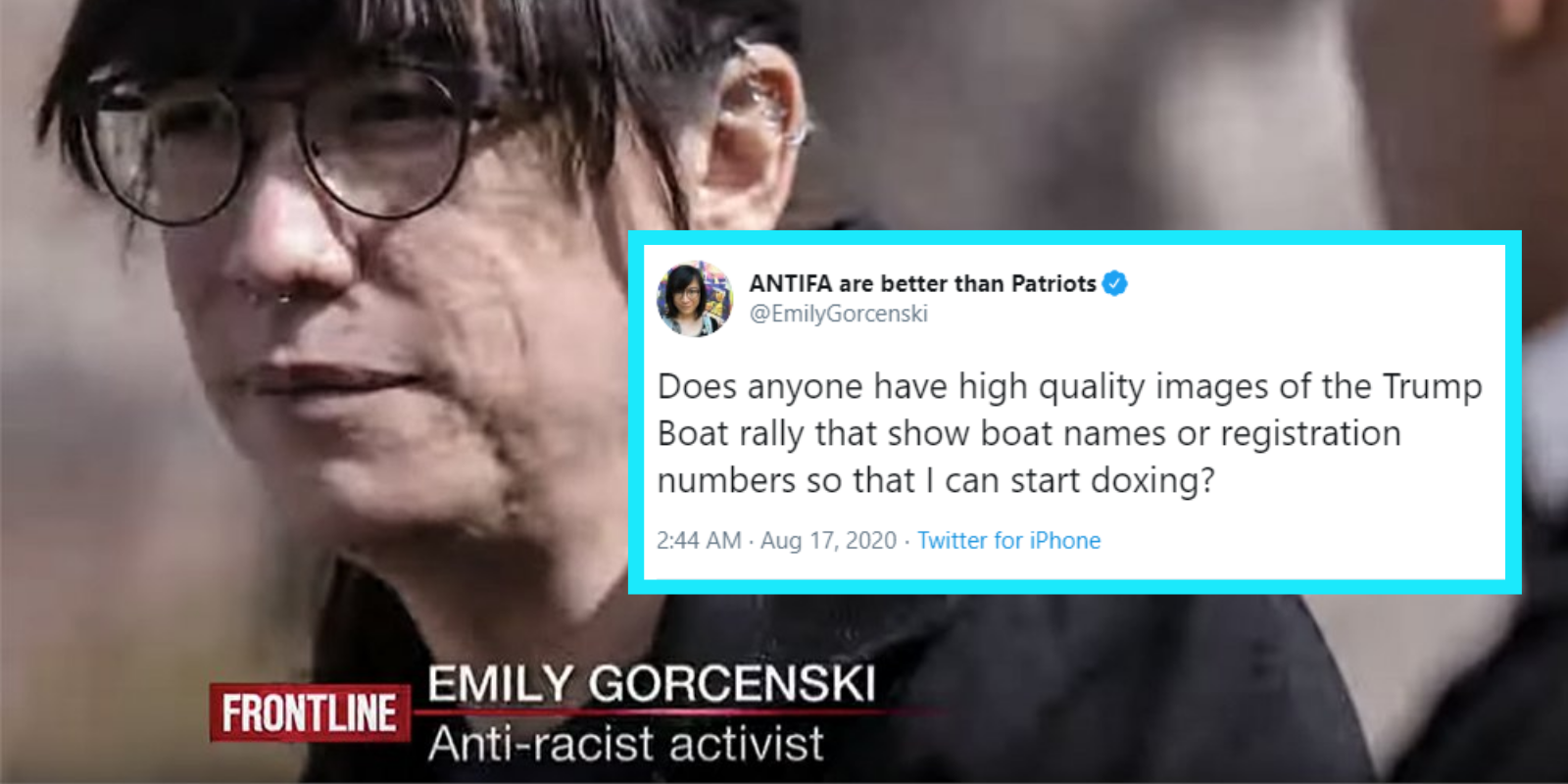 Notorious Antifa activist tries to dox Trump boat parade participants on Twitter
