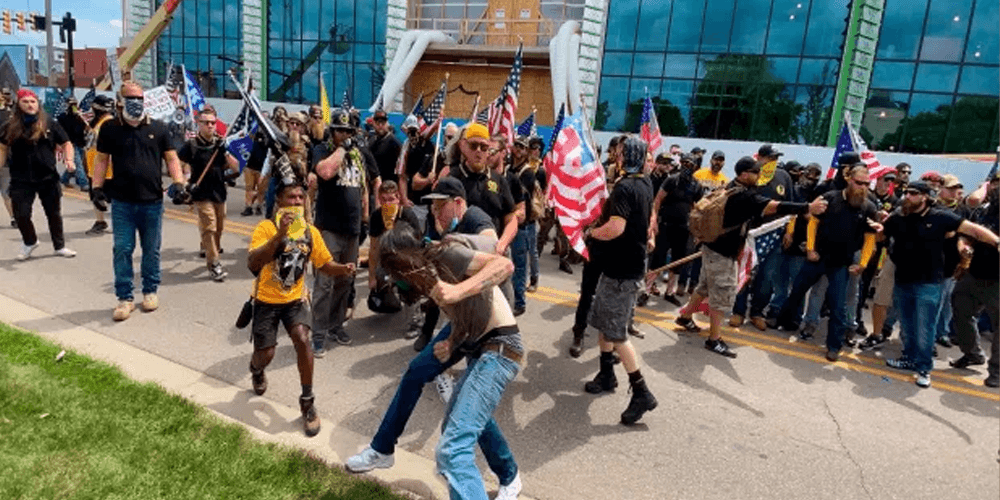 Rally turns violent when Proud Boys clash with counter-protestors in Michigan