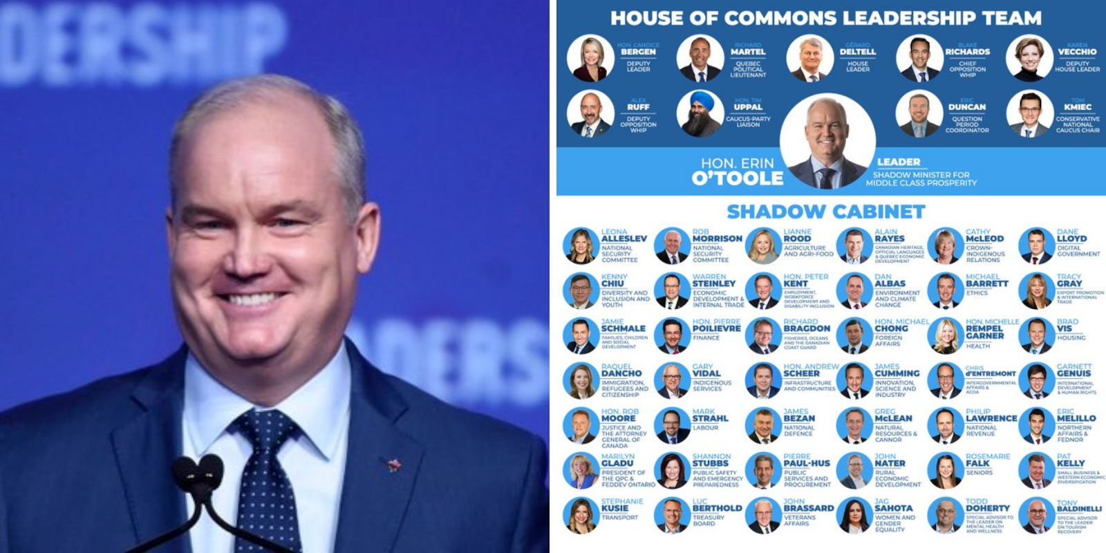 Erin O'Toole announces new Conservative Party Shadow Cabinet, includes role for Andrew Scheer