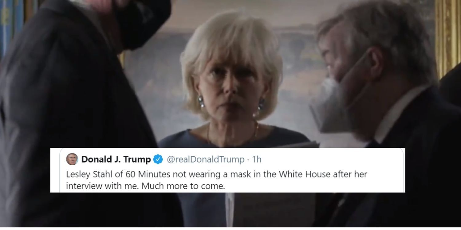 Trump tweets video of '60 Minutes' host at the White House with no mask