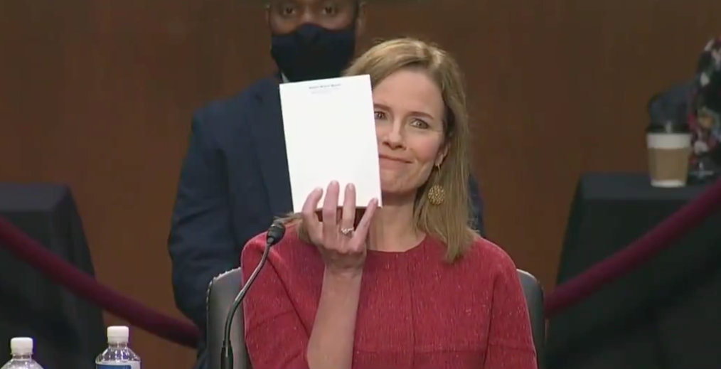 Amy Coney Barrett is asked to show her notes, reveals she's speaking entirely from memory